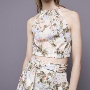Rebecca Taylor Tie Open Back Floral Halter Top